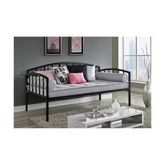 Perfect as a sofa or as a sleeper, the DHP Ava Metal Daybed is the perfect addition to any room setting. Its white metal frame and clean, curved design coordinates well with other pieces to best compliment any room décor. This versatile twin-size daybed offers extra seating and sleeps one comfortably. Sturdily constructed, the bed includes metal slats and supporting legs for added support and comfort. No box spring is required with this style of bed.