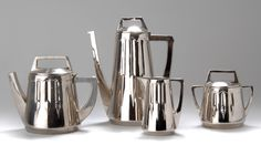 PETER BEHRENS Secessionist pewter coffee and tea set, c. 1904, manufactured by Eduard Hueck