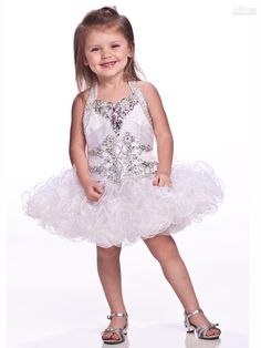 Wholesale White Lovely Girls Pageant Dresses Organza Halter Beaded Beading Crystal Sequin TUTU Baby Skirts, Free shipping, $131.82/Piece | DHgate