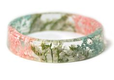 Pastel Flowers Resin Bangle Bracelet