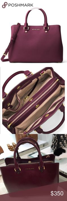 "Savannah  Saffiano Satchel Bag Michael Kors large Savannah Saffiano Satchel Bag Michael Kors Plum see photo for description New. Close to final price. Lowest.  approx 13"" across 9.5"" high 5"" handle drop comes with detachable strap Michael Kors Bags Satche"