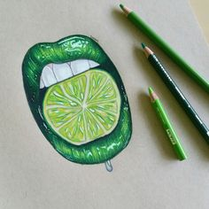 Drew some pretty lime lips. Follow my insta for more: @drawings_by_lotte . Prismacolors on toned tan paper.