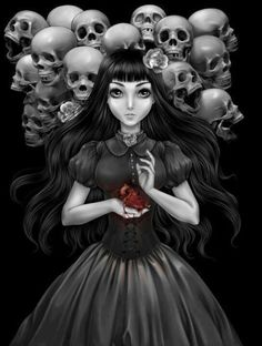 Nice dark image of young Lolita girl and her skull friends Dark Fantasy Art, Dark Gothic Art, Foto Fantasy, Gothic 4, Arte Horror, Horror Art, Dark Side, Art Sinistre, Beautiful Dark Art