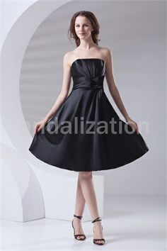 Black Knee-Length Pleats Elastic Woven Satin Bridesmaid Dress