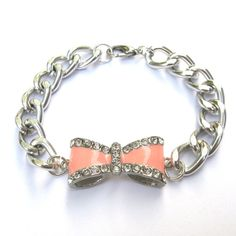 Dalia Arm Candy Light Pink Rhinestone Bow Bracelet with a Chunky Silver Chain Bracelet  Bow Charm Arm Candy $14