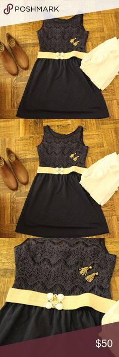 Lilly Pulitzer Rhea Dress, Medium, Navy Navy sleeveless dress with lace detail.   Perfect for dressed down for work or dressed up for an event. Can be work belted or not -- belt in photo is also available in my shop! Lilly Pulitzer Dresses