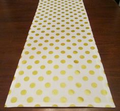 SALE SALE Gold Table Runner Lined Gold Dot Dining by soSarahsews