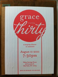 We love this letterpress design on our Savoy paper by #reichpaper. ang&art | Grace's 30th Birthday. #letterpresspaper