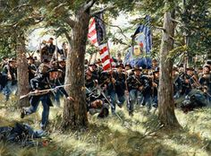 """For God's Sake Forward"" by Don Troiani.  Gen. John Reynolds and the 2nd Wisconsin of the Iron Brigade, Gettysburg, July 1, 1863."