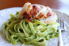 chicken and pasta in a pesto cream sauce.