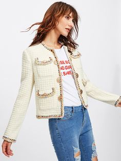 8d4173c75c Shop Colorful Braided Trim Tweed Blazer online. SheIn offers Colorful  Braided Trim Tweed Blazer & more to fit your fashionable needs.