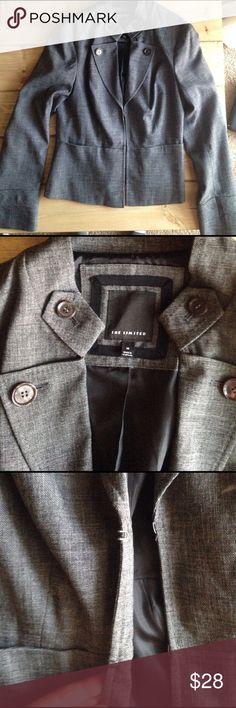 """The Limited Jacket Blazer Dark gray suit jacket. Decorative buttons at the top. Two fasteners in the middle. Size medium. 19"""" from underarm to wrist. 25"""" from shoulder to wrist. No signs of wear-in excellent condition. The Limited Jackets & Coats Blazers"""