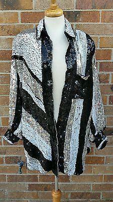 89b40b1a7a6 Vintage 1980s sequins art deco dress blazer party evening M L Art Deco  Dress