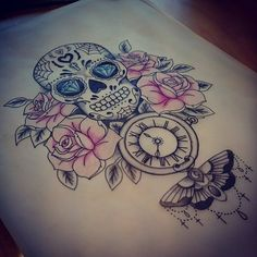 candy skull tattoo update by Kohlmeisen on DeviantArt