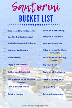 Want to see how many of these Santorini bucket list islands you can check off during your vacation in Greece? Check out this complete travel guide to Santorini and I'll show you how! hotel restaurant travel tips Travel Checklist, Travel List, Travel Guide, Travel Bucket Lists, Europe Bucket List, Travel Info, Vacation Travel, Travel Packing, Travel Essentials