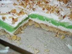 Pistachio Pudding dessert... could be made with a graham cracker crust as well.