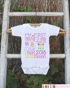 Girl's My First Mother's Day Outfit - Happy Mother's Day Onepiece or Tshirt - Personalized Baby Girl's Outfit - Happy First Mothers Day Gift