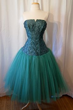 A Gorgeous 1950's Green Drop Waist Strapless Party Dress Size from Wear It Again Sam