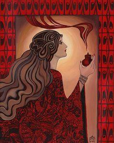 Circe - Print Art Nouveau pagano bruja diosa 8 x 10