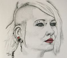Pen and ink punky girl