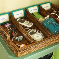 Tray Chic  Evaluate where family members tend to dump their stuff as they enter the house. Still not sure even the signage will encourage my family to be neat, but always worth a try.