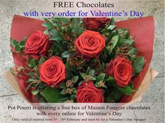 Order flowers between 1st and 10th of Feb for FREE chocolates! Wedding Bouquets, Wedding Flowers, Flowers For Valentines Day, Send Roses, Order Flowers Online, Local Florist, Rose Bouquet, Calla Lily, Flower Delivery