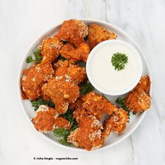 Spicy Baked Cauliflower Bites with Celery Ranch (vegan)