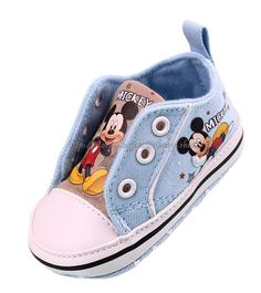 Baby Boy Blue Sneakers Mickey Mouse Crib Shoes Size Newborn to 18 Months | eBay US$8.95