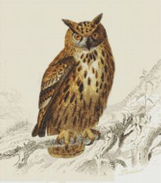 Eurasian Eagle Owl Cross Stitch Pattern, Edouard Travies, Instant Download Counted Cross Stitch Chart, Needlework