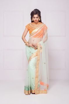 HOUSE OF OMBRE delicate net saree with contrast blouse#flyrobe #weddings #friendsofthebride #designerwear #indianweddings#indianweddingoutfits#saree
