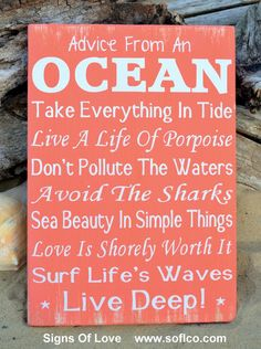 Advice From An Ocean Sign, Inspirational Original Beach Decor, Rules Lessons Wood Sign Coral Rustic Hand Painted Custom Wooden Plaque