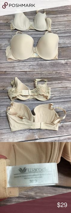 Two Nude Wacoal Bras TWO Size 32 D nude bras from Wacoal (Dillard's). One bra has lace. One bra has a little misshaped padding. Both still in good condition. Listing is for TWO bras pictures. Won't sell separately. Offers are welcome but I don't trade. Wacoal Intimates & Sleepwear Bras