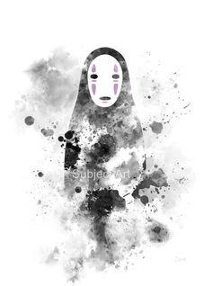 Sin cara, Ilustración de Spirited lejos lámina, Studio Ghibli, Anime, Manga, arte de la pared, decoración del hogar