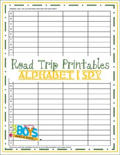 Road Trip Printables for Kids: Free Alphabet I Spy from 3 Boys and a Dog