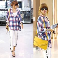 Batwing Dolman Sleeve Plaid Casual Shirts T-Shirt Blouse
