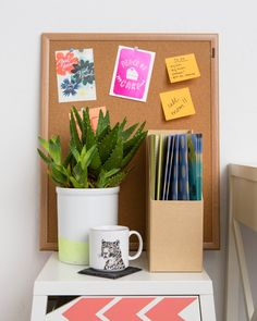 Add a cork board to your workspace.