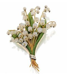 Carved Rock Crystal, Nephrite and Diamond Lily-of-the-Valley Brooch