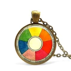 ConvertibleGirlShop / Etsy: Retro artist necklace vintage French color wheel pendant art teacher gift.
