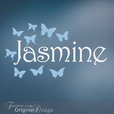 Sams Room - Butterfly Wall Decal Custom Name Wall Art Girls Teen by Twistmo, $25.00