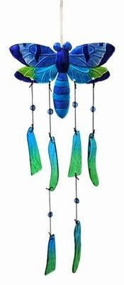 """Handmade slumped & fused, hand painted glass butterfly wind chime. Brilliant colors with cascading chimes brings this piece to a full 16"""" to 20"""" long.Sculpted by hand using 2000'deg. molten glass REGA"""