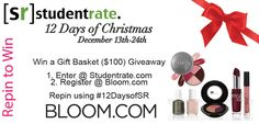 8 days left!!!!! Repin to win a Bloom.com Gift Basket filled with $100 worth of makeup! The winner will be selected exclusively from Pinterest!  Use #12DaysofSR !  Register@ http://www.bloom.com/customer/account/join/referer/YmVhdXR5Ymlv/  Enter Giveaway @ http://studentrate.com/StudentRate/School/Deals/Drawing.aspx