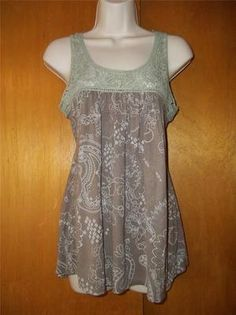 10 PAPAYA ~ Taupe Floral Sage Embroidered Lace Baby doll Tie Back Tunic Top M