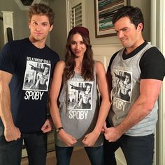 Keegan Allen Troian Bellisario and Ian Harding promoting there new Spoby t-shirt *lol ians face