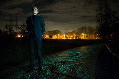 """Glow in the dark bike path in the Netherlands inspired by Van Gogh's painting, """"Starry Night""""."""