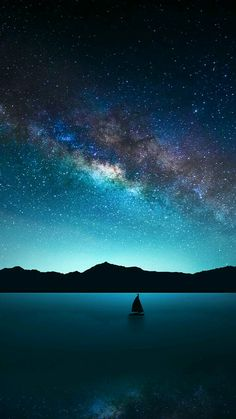 Blue earth milky way ocean sailboat sea sky starry sky stars wallpaper. Beautiful Sky, Beautiful Landscapes, Beautiful World, Pretty Sky, Star Wallpaper, Wallpaper Backgrounds, Wallpapers, Night Sky Wallpaper, Iphone Wallpaper