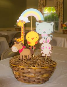 Center piece for Noah's ark party