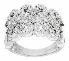 Epiphany Diamonique Heart Design Wide Band Ring