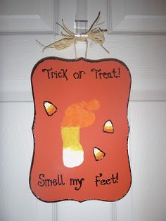 Candy corn foot print craft!