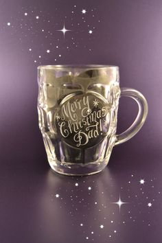 Personalised glass beer tankard Christmas gift for Dad - hand engraved with your own message by CoveCalligraphy