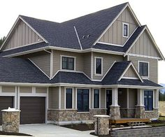 Light Grey Siding With Charcoal Metal Roof Google Search